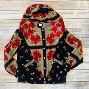 Carole Little Vintage 80's hooded Track Jacket